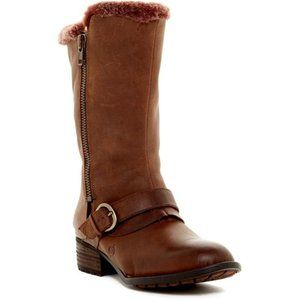 Born Goji Shearling Lined Leather Moto Boots Brown